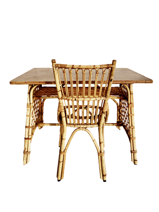 unikvintage64- bureau et chaise rotin