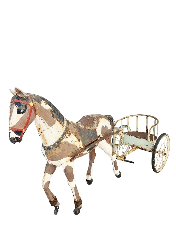 unikvintage64-cheval attelé sulky-