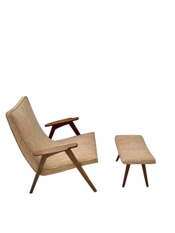 unikvintage64-fauteuil et son ottoman