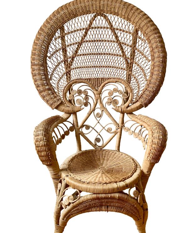 unikvintage64-fauteuil peacock rotin